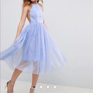 Light Blue tulle tea length dress